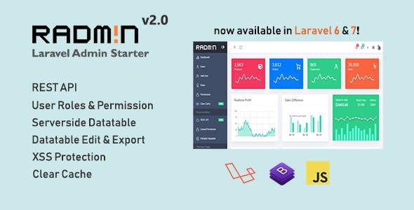 Radmin - Laravel Admin starter with REST API, User Roles & Permission