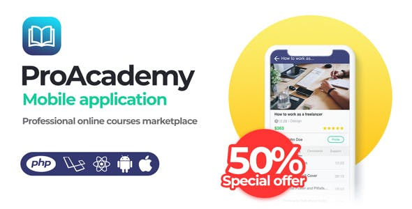 Proacademy mobile app v2.0 - Education & LMS Marketplace (Android + iOS)