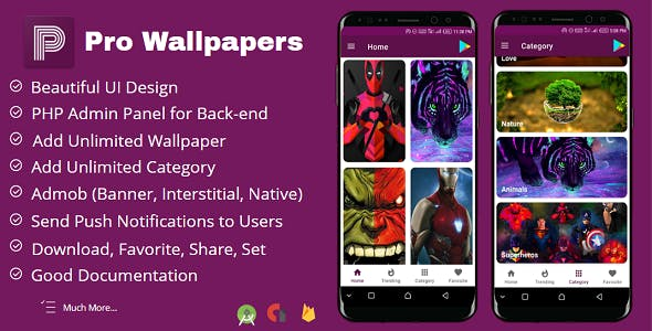 Pro Wallpapers Android App with Admin Panel