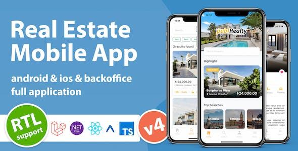Real Estate Mobile App with Admin Panel | React Native & PHP Laravel or .NET Core 3.1