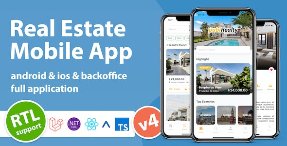 Real Estate Mobile App with Admin Panel | React Native & PHP Laravel or .NET Core 3.1 - CodeCanyon Item for Sale
