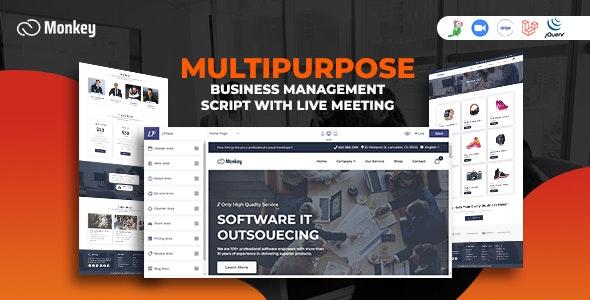 Monkey - Laravel Multipurpose Website CMS & Business Agency Management With Live Meeting