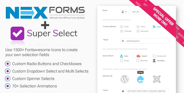 Super Selection Form Field for NEX-Forms - CodeCanyon Item for Sale