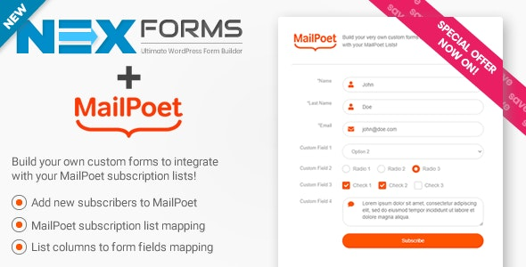 MailPoet for NEX-Forms - CodeCanyon Item for Sale