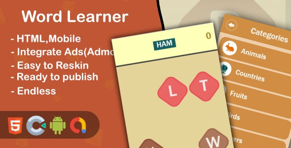 Word Learner - Html5 Game and Mobile (Construct 3) - CodeCanyon Item for Sale