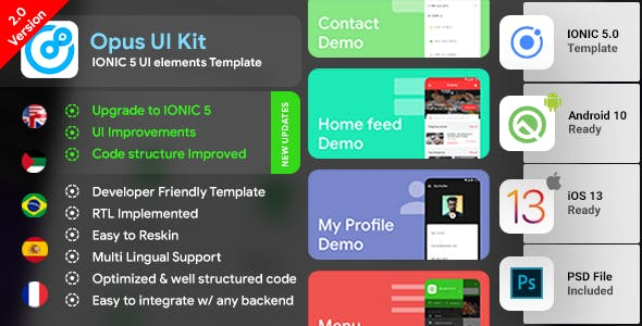 IONIC 5 UI elements with 85+ Screens | Ready to use