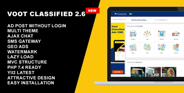 Classified Ads CMS - Voot Classified V2.6 - CodeCanyon Item for Sale