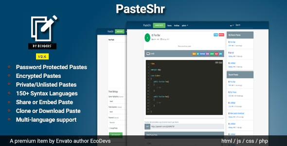 PasteShr - Text Hosting & Sharing Script