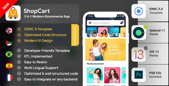 Modern Ecommerce Android App Template + Ecommerce iOS App Template (HTML + CSS) (IONIC 5) | ShopCart - CodeCanyon Item for Sale