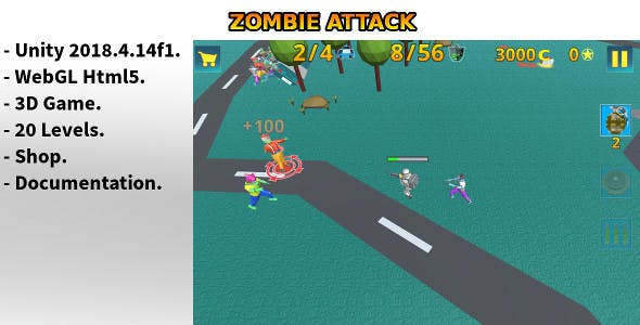 Zombie Attack - Html5 Unity Game
