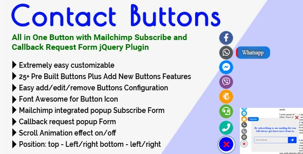 Contact Buttons - All in One Button with Mailchimp Subscribe and Callback Request Form jQuery Plugin - CodeCanyon Item for Sale
