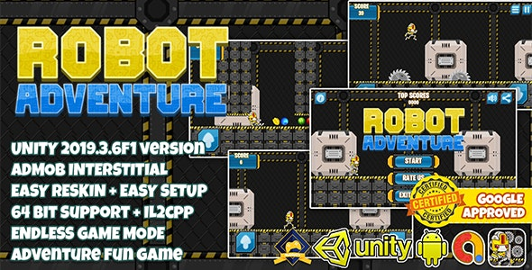 ROBOT ADVENTURE RUNNER UNITY3D + ADMOB + EASY RESKIN + LATEST API SUPPORT - CodeCanyon Item for Sale