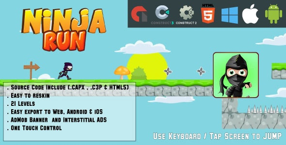 Ninja Run Adventure - 21 levels - HTML5 Game - Web & Mobile + AdMob (CAPX, C3p and HTML5) - CodeCanyon Item for Sale