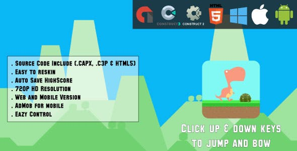 Dino Run Adventure - HTML5 Game - Web & Mobile + AdMob (CAPX, C3p and HTML5)