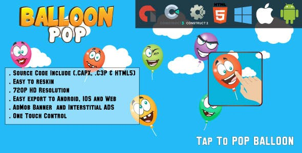 Balloon Pop - HTML5 Game - Web & Mobile + AdMob (CAPX, C3p and HTML5)