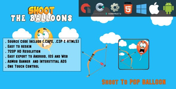 Shoot the balloons - HTML5 Game - Web & Mobile + AdMob (CAPX, C3p and HTML5)