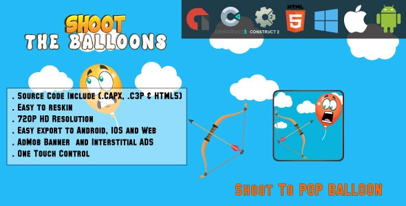 Shoot the balloons - HTML5 Game - Web & Mobile + AdMob (CAPX, C3p and HTML5) - CodeCanyon Item for Sale