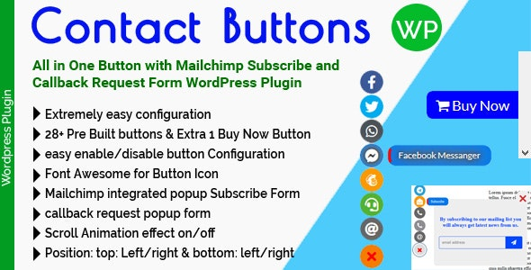 Contact Buttons - All in One Button with Mailchimp Subscribe and Callback Request Form for WordPress - CodeCanyon Item for Sale