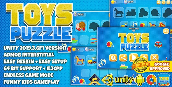 TOYS PUZZLE FOR KIDS UNITY3D + ADMOB + EASY RESKIN + 64 BIT SUPPORT - CodeCanyon Item for Sale