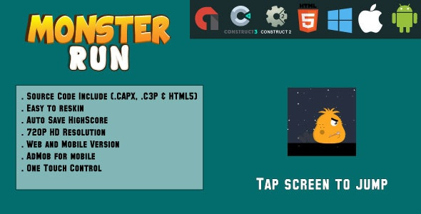 Monsters Run Adventure - HTML5 Game - Web & Mobile + AdMob (CAPX, C3p and HTML5) - CodeCanyon Item for Sale