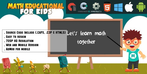 Math Education For Kids - HTML5 Game - Web & Mobile + AdMob (CAPX, C3p and HTML5)