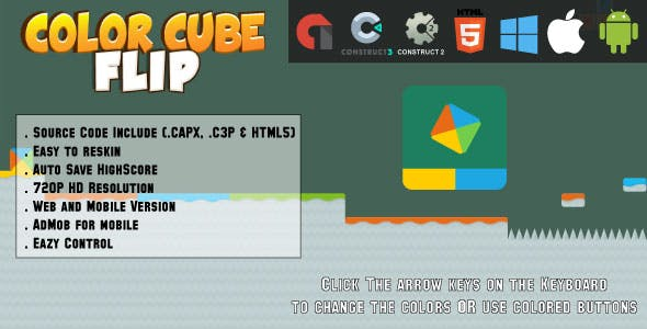 Color Cube Flip - HTML5 Game - Web & Mobile + AdMob (CAPX, C3p and HTML5)