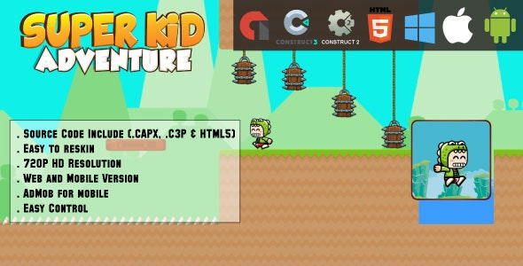 Super Kid Adventure - HTML5 Game - Web & Mobile + AdMob (CAPX, C3p and HTML5) - CodeCanyon Item for Sale