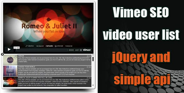 Vimeo SEO Video Playlist jQuery