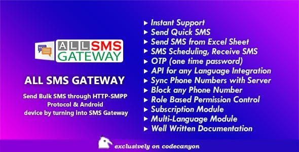 All SMS Gateway - Send Bulk SMS through HTTP-SMPP Protocol & Android phone by Turning into Gateway