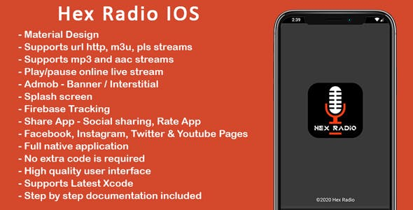 Hex Radio IOS - Single Online Radio Player App for IOS with Admob