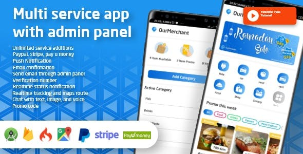 Ouride - Multi Service App With Customer App, Driver App, Merchant App and Admin Panel