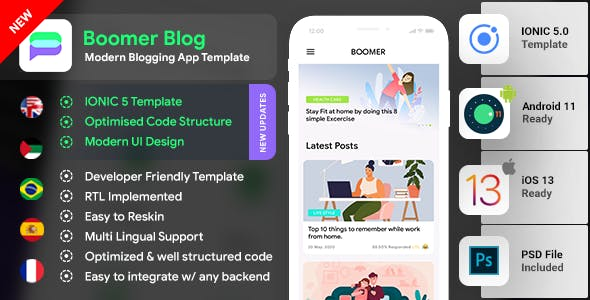Blog Android App Template + Blog iOS App Template (HMTL + CSS) IONIC 5 | Boomer | Modern Design