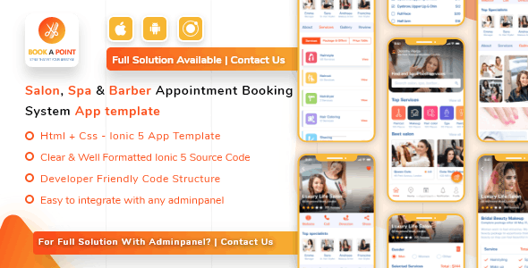 Salon, Spa Barber Appointment Booking Mobile App Template IONIC 5 for Android & iOS - CodeCanyon Item for Sale