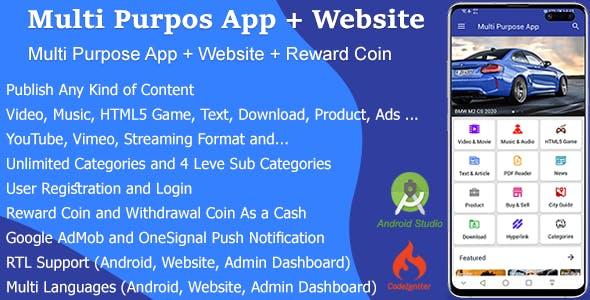 Multi Purpose App + Website + Reward Coin
