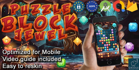 Puzzle Block Jewel V2 (Admob + GDPR + Android Studio)