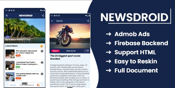 NewsDroid app - News app with Firebase Backend ,Admob and Facebook Ads