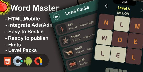Word Master - Brain Puzzle (Html+Mobile+Construct 3)