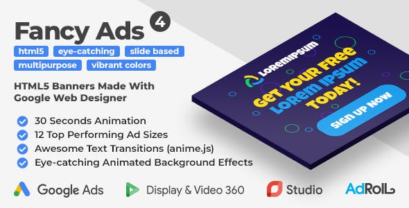 Fancy Ads 4 - Multipurpose Animated HTML5 Banners (GWD, anime.js)