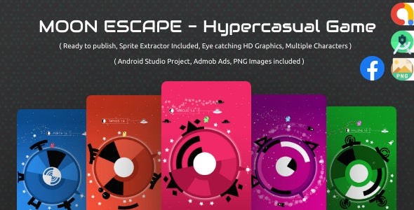 Moon Escape:  admob ads + facebook ads + android studio + sprite extractor  + ready to publish - CodeCanyon Item for Sale