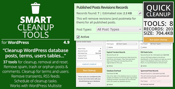 Smart Cleanup Tools - Plugin for WordPress - CodeCanyon Item for Sale