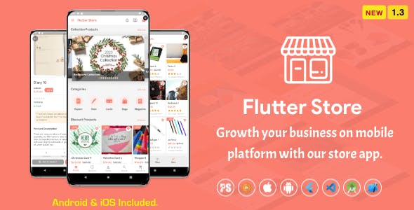 Flutter Store ( Ecommerce Mobile App for iOS & Android with same backend ) 1.3