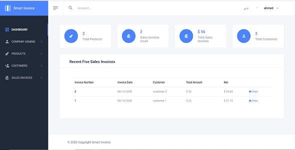 Smart Invoice .Net core 3.1+ User Management + Arabic Support + Full Source Code