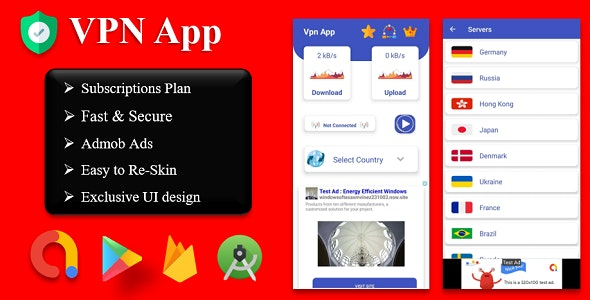 Fast Pro VPN App unblock Proxy | In App Purchase | High Secure VPN | Admob Ads - CodeCanyon Item for Sale