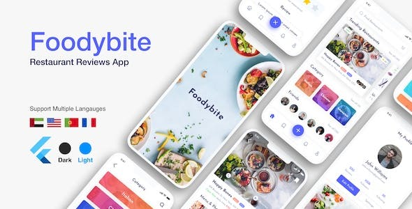 Flutter Foodybite: Restaurant reviews app UI