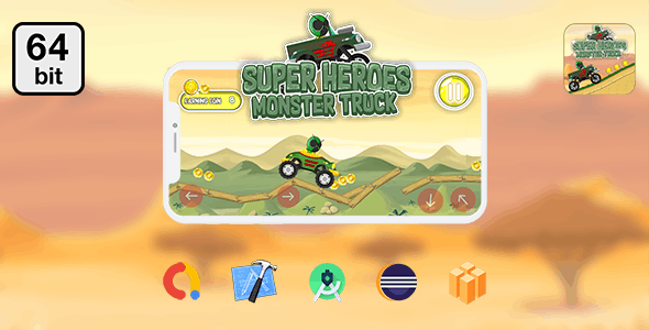 Super Heroes Monster Truck 64 bit - Android IOS With Admob