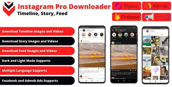 Post, Story, Timeline Downloader for Instagram + Facebook, Admob Ads + Firebase Push Notification