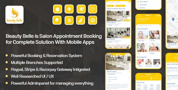 Salon & Spa Appointment Booking App For Android - iOS App with admin panel - Beauty Belle - CodeCanyon Item for Sale