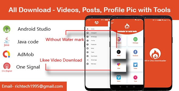 Insta,TikTok,Likee,FB,Whatsapp,Twitter With editing tools - Firebase| Admob | Onesignal - CodeCanyon Item for Sale