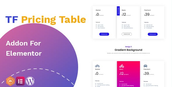Pricing Table addon - widget for Elementor