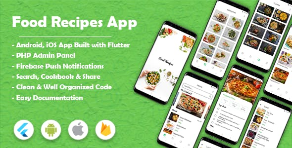 Food Recipes Flutter App (Android & iOS)